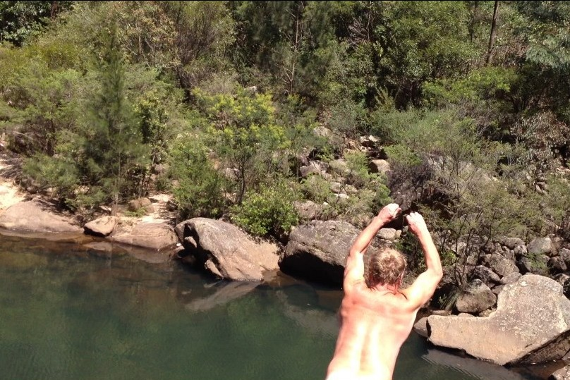 Nude bushwalking - Michael enjoys a skinny-dip