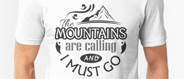 Typographic t-shirts for hikers and other outdoorsy people